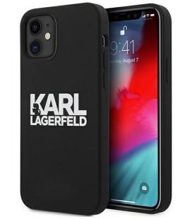 """Juodas dėklas Apple iPhone 12 Mini telefonui """"KLHCP12SSLKLRBK Karl Lagerfeld Stack White Logo Silicone Case"""""""