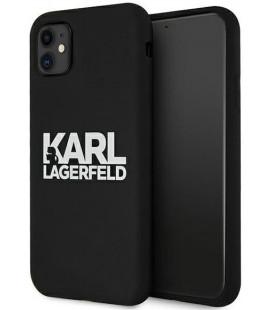 """Juodas dėklas Apple iPhone 11 telefonui """"KLHCN61SLKLRBK Karl Lagerfeld Stack White Logo Silicone Case"""""""