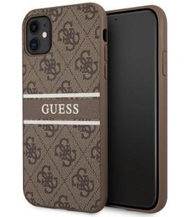 """Rudas dėklas Apple iPhone 11 telefonui """"GUHCN614GDBR Guess PU 4G Printed Stripe Case"""""""