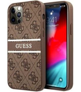 "Rudas dėklas Apple iPhone 12 Pro Max telefonui ""GUHCP12L4GDBR Guess PU 4G Printed Stripe Case"""