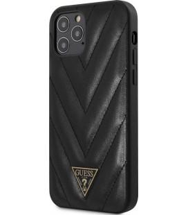 "Juodas dėklas Apple iPhone 12 Pro Max telefonui ""GUHCP12LPUVQTMLBK Guess V Quilted Cover"""