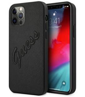 "Juodas dėklas Apple iPhone 12/12 Pro telefonui ""GUHCP12MRSAVSBK Guess PU Saffiano Vintage Script Case"""