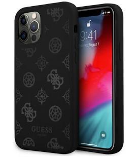 """Juodas dėklas Apple iPhone 12/12 Pro telefonui """"GUHCP12MLSPEBK Guess Liquid Silicone Tone on Tone Peony Case"""""""