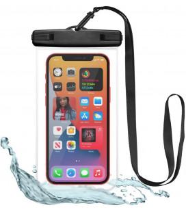 """Juodas/skaidrus universalus vandeniui atsparus dėklas """"Tech-Protect Waterproof"""""""