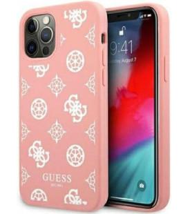 "Rožinis dėklas Apple iPhone 12 Pro Max telefonui ""GUHCP12LLSPEWPI Guess Liquid Silicone White Peony Case"""