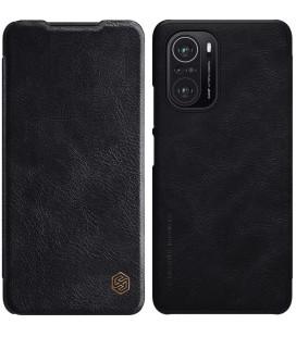 """Odinis juodas atverčiamas dėklas Xiaomi Poco F3 telefonui """"Nillkin Qin"""""""