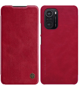 """Odinis raudonas atverčiamas dėklas Xiaomi Poco F3 telefonui """"Nillkin Qin"""""""