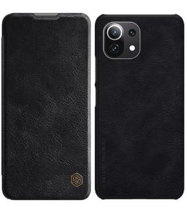 """Odinis juodas atverčiamas dėklas Xiaomi Mi 11 Lite telefonui """"Nillkin Qin"""""""