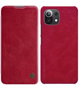 """Odinis raudonas atverčiamas dėklas Xiaomi Mi 11 Lite telefonui """"Nillkin Qin"""""""