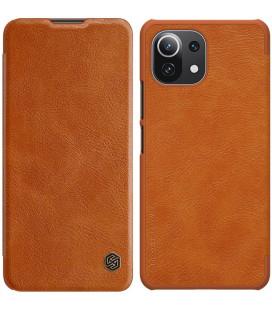 """Odinis rudas atverčiamas dėklas Xiaomi Mi 11 Lite telefonui """"Nillkin Qin"""""""