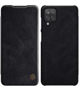 """Odinis juodas atverčiamas dėklas Samsung Galaxy A12 telefonui """"Nillkin Qin"""""""