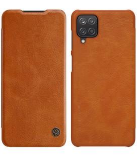 """Odinis rudas atverčiamas dėklas Samsung Galaxy A12 telefonui """"Nillkin Qin"""""""