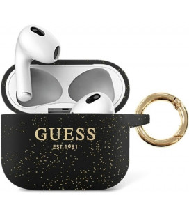 "Juodas dėklas Apple Airpods 3 ausinėms ""GUA3SGGEK Guess Glitter Printed Logo Silicone Case"""