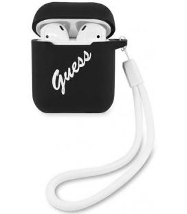 "Juodas dėklas Apple Airpods 1 / 2 ausinėms ""GUACA2LSVSBW Guess Vintage Silicone Case"""