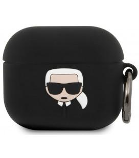 "Juodas dėklas Apple Airpods 3 ausinėms ""KLACA3SILKHBK Karl Lagerfeld Karl Head Silicone Case"""