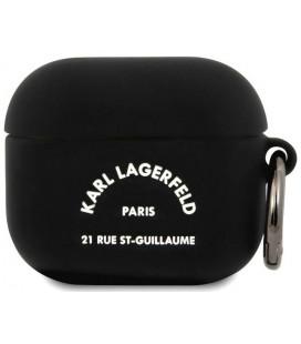 """Juodas dėklas Apple Airpods 3 ausinėms """"KLACA3SILRSGBK Karl Lagerfeld Rue St Guillaume Silicone Case"""""""