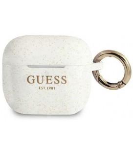 """Baltas dėklas Apple Airpods 3 ausinėms """"GUA3SGGEH Guess Glitter Printed Logo Silicone Case"""""""