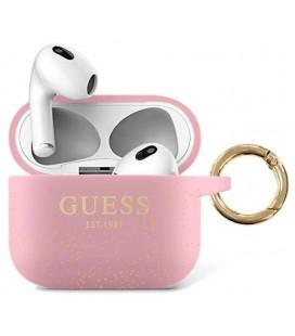 "Rožinis dėklas Apple Airpods 3 ausinėms ""GUA3SGGEP Guess Glitter Printed Logo Silicone Case"""