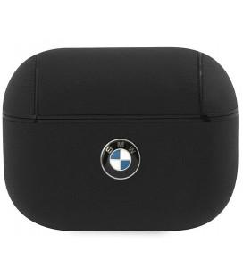 """Juodas dėklas Apple Airpods Pro ausinėms """"BMAPCSLBK BMW Signature Leather Case"""""""