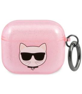 "Rožinis dėklas Apple Airpods 3 ausinėms ""KLA3UCHGP Karl Lagerfeld TPU Glitter Choupette Head Case"""