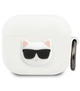 """Baltas dėklas Apple Airpods 3 ausinėms """"KLACA3SILCHWH Karl Lagerfeld Choupette Head Silicone Case"""""""