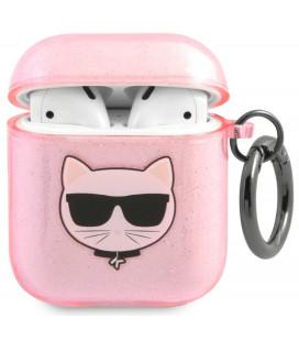 "Rožinis dėklas Apple Airpods 1 / 2 ausinėms ""KLA2UCHGP Karl Lagerfeld TPU Glitter Choupette Head Case"""