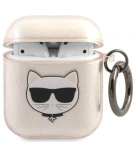 "Auksinės spalvos dėklas Apple Airpods 1 / 2 ausinėms ""KLA2UCHGD Karl Lagerfeld TPU Glitter Choupette Head Case"""