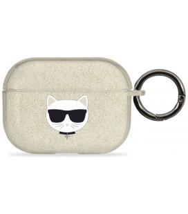 "Auksinės spalvos dėklas Apple Airpods Pro ausinėms ""KLAPUCHGD Karl Lagerfeld TPU Glitter Choupette Head Case"""