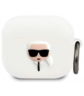 "Baltas dėklas Apple Airpods 3 ausinėms ""KLACA3SILKHWH Karl Lagerfeld Karl Head Silicone Case"""