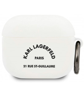 "Baltas dėklas Apple Airpods 3 ausinėms ""KLACA3SILRSGWH Karl Lagerfeld Rue St Guillaume Silicone Case"""