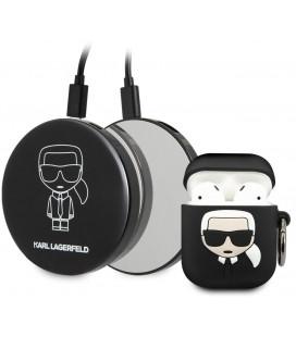 """Juodas dėklas + išorinė baterija Apple Airpods 1 / 2 ausinėms """"KLBPPBOA2K Karl Lagerfeld Bundle Iconic Case"""""""