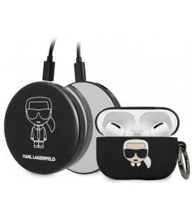 """Juodas dėklas + išorinė baterija Apple Airpods Pro ausinėms """"KLBPPBOAPK Karl Lagerfeld Bundle Iconic Case"""""""