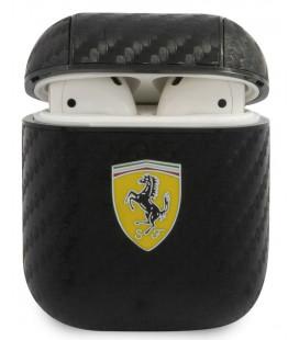 "Juodas dėklas Apple Airpods 1 / 2 ausinėms ""FESA2CABK Ferrari Carbon PC/PU Case"""