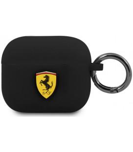"Juodas dėklas Apple Airpods 3 ausinėms ""FEA3SILBK Ferrari Silicone Case"""