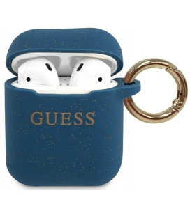 "Mėlynas dėklas Apple Airpods 1 / 2 ausinėms ""GUACCSILGLBL Guess Silicone Case"""