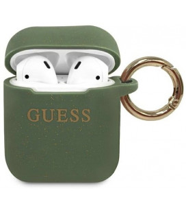 "Khaki dėklas Apple Airpods 1 / 2 ausinėms ""GUACCSILGLKA Guess Silicone Case"""