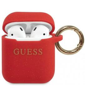 """Raudonas dėklas Apple Airpods 1 / 2 ausinėms """"GUACCSILGLRE Guess Silicone Case"""""""