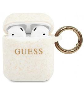 "Baltas dėklas Apple Airpods 1 / 2 ausinėms ""GUACCSILGLWH Guess Silicone Case"""