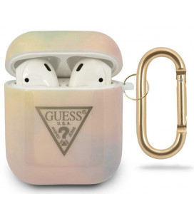 "Rožinis dėklas Apple Airpods 1 / 2 ausinėms ""GUACA2TPUMCGG01 Guess TPU T&D Gold Triangle 01 Case"""