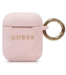 "Rožinis dėklas Apple Airpods 1 / 2 ausinėms ""GUACCSILGLLP Guess Silicone Case"""