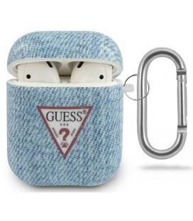 "Mėlynas dėklas Apple Airpods 1 / 2 ausinėms ""GUACA2TPUJULLB Guess Denim Triangle Case"""