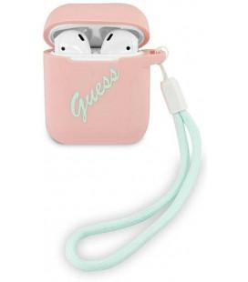 "Rožinis dėklas Apple Airpods 1 / 2 ausinėms ""GUACA2LSVSPG Guess Vintage Silicone Case"""