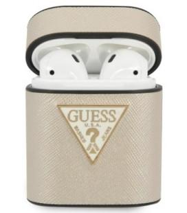 "Smėlio spalvos dėklas Apple Airpods 1 / 2 ausinėms ""GUACA2VSATMLLG Guess Saffiano Case"""