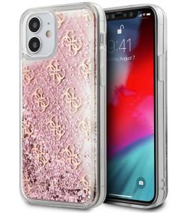 "Rožinis dėklas Apple iPhone 12 Mini telefonui ""GUHCP12SLG4GSPG Guess 4G Liquid Glitter Cover"""