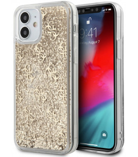 "Auksinės spalvos dėklas Apple iPhone 12 Mini telefonui ""GUHCP12SLG4GSLG Guess 4G Liquid Glitter Cover"""