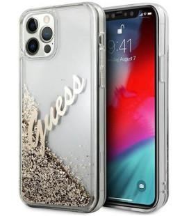 "Auksinės spalvos dėklas Apple iPhone 12/12 Pro telefonui ""GUHCP12MGLVSGO Guess Liquid Glitter Vintage Cover"""
