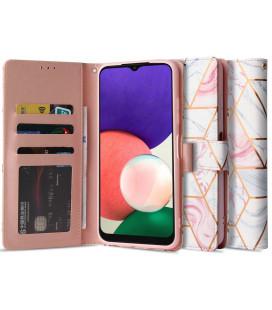 """Atverčiamas dėklas Samsung Galaxy A22 5G telefonui """"Tech-protect Wallet Marble"""""""