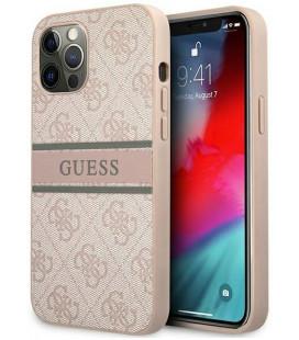 """Rožinis dėklas Apple iPhone 12/12 Pro telefonui """"GUHCP12M4GDPI Guess PU 4G Printed Stripe Case"""""""
