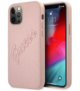 """Rausvai auksinės spalvos dėklas Apple iPhone 12/12 Pro telefonui """"GUHCP12MRSAVSRG Guess PU Saffiano Vintage Script Case"""""""