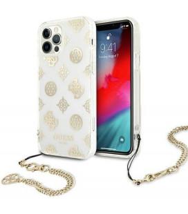 """Auksinės spalvos dėklas Apple iPhone 12/12 Pro telefonui """"GUHCP12MKSPEGO Guess PC Chain Peony Case"""""""